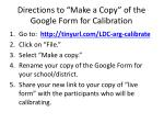 directions to make a copy of the google form for calibration