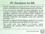 pc simulators for rr