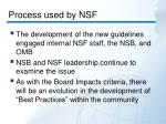 process used by nsf