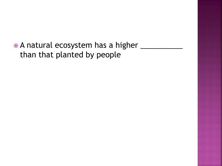 A natural ecosystem has a higher __________ than that planted by people