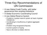 three key recommendations of un commission