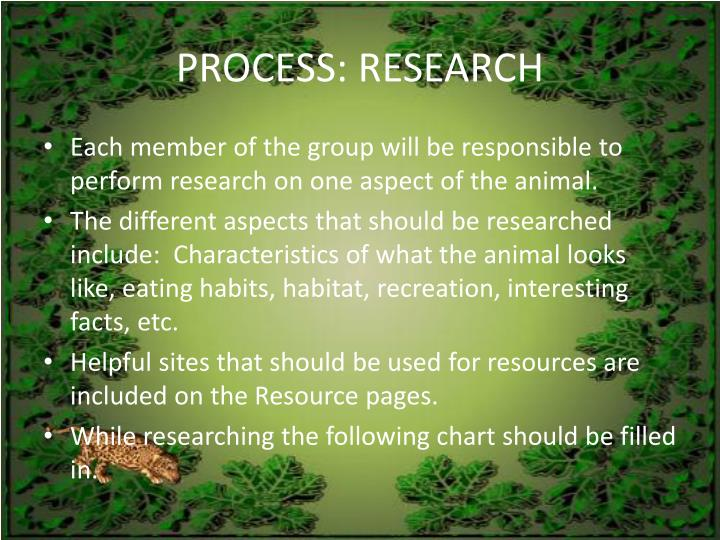 PROCESS: RESEARCH