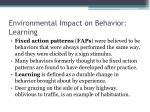 environmental impact on behavior learning