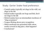 study garter snake food preference