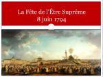 la f te de l tre supr me 8 juin 1794