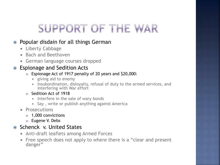 Support of The War