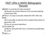 fast uris in marc bibliographic records