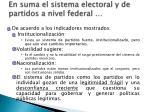 en suma el sistema electoral y de partidos a nivel federal