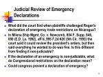 judicial review of emergency declarations