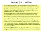 women gain the vote