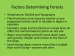 factors determining forests