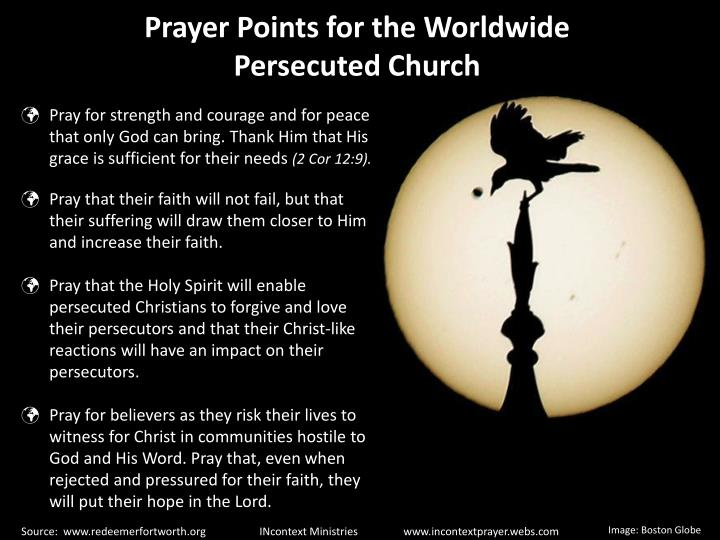 Prayer Points for the Worldwide Persecuted Church