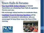 town halls forums