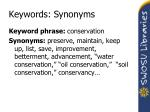 keywords synonyms