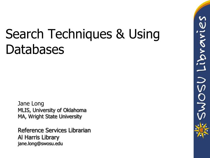 search techniques using databases n.