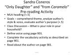 sandra cisneros only daughter and from caramelo pre reading activity
