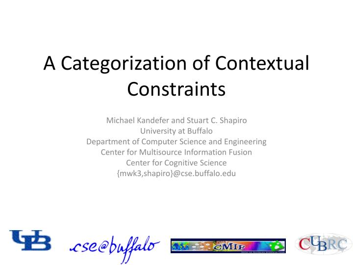 a categorization of contextual constraints n.