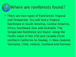 where are rainforests found