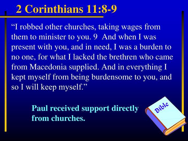2 Corinthians 11:8-9