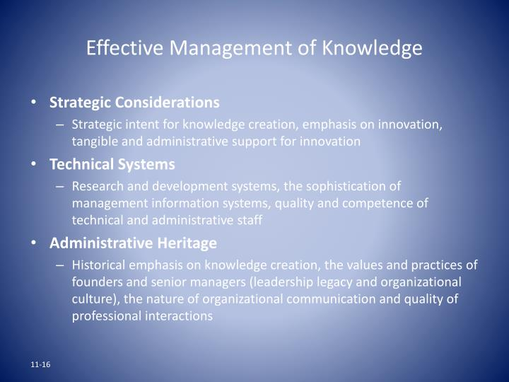 Effective Management of Knowledge
