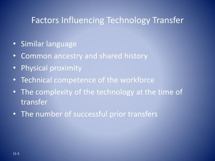 Factors Influencing Technology Transfer
