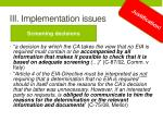 iii implementation issues