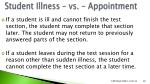 student illness vs appointment