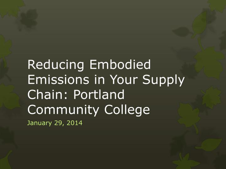 reducing embodied emissions in your supply chain portland community college n.