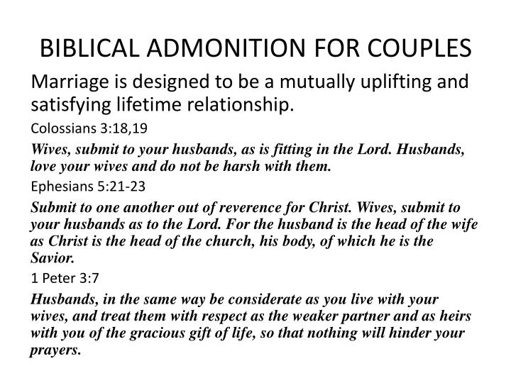 BIBLICAL ADMONITION FOR COUPLES