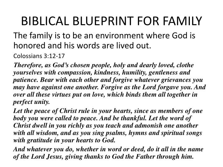 BIBLICAL BLUEPRINT FOR FAMILY