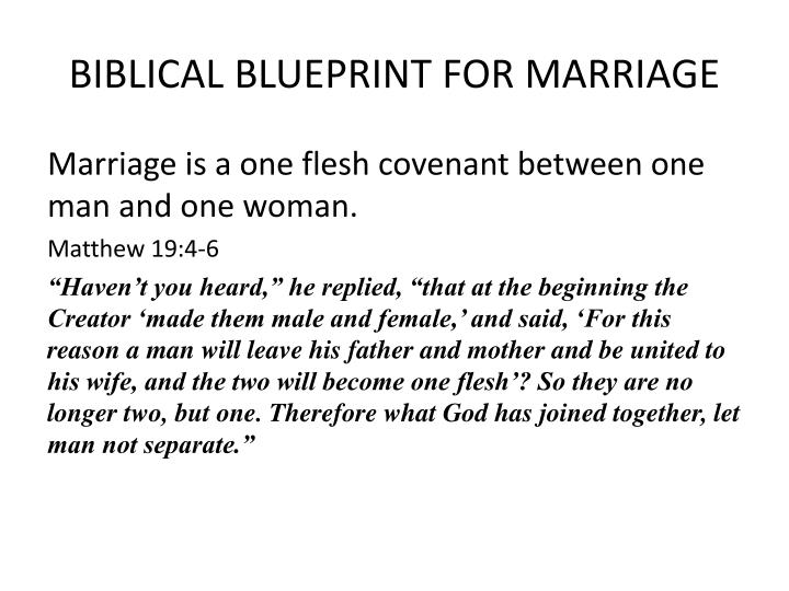 Biblical blueprint for marriage