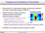 transport and turbulence 5 year goals