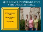 area de emprendimiento etica y educaci n art stica