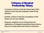 critiques of marginal productivity theory