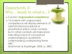 opportunity 3 why leads to what is4