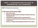 part 1 considerations related to interpreting the standards9