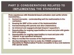 part 2 considerations related to implementing the standards1