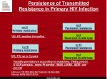 persistence of transmitted resistance in primary hiv infection