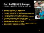 army battlemind program stresses positive factors such as
