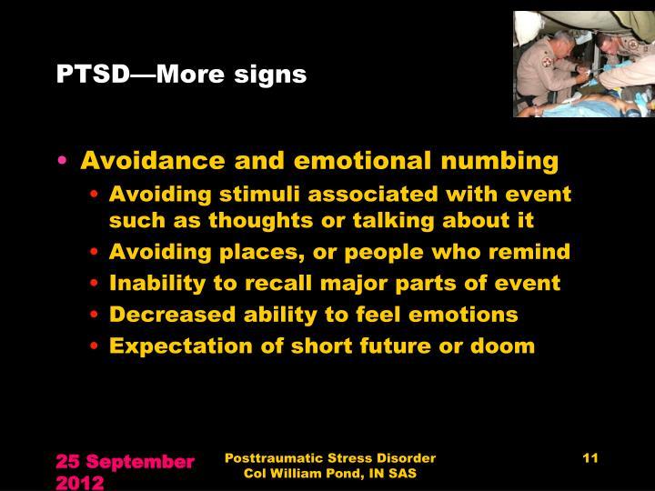 PTSD—More signs
