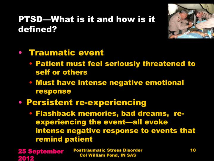 PTSD—What is it and how is it defined?