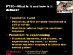 ptsd what is it and how is it defined