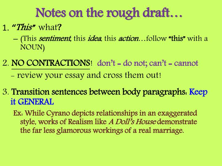notes on the rough draft n.