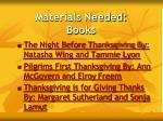 materials needed books