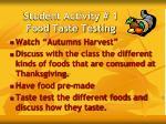 student activity 1 food taste testing