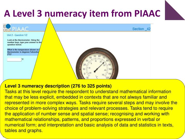 A Level 3 numeracy item from PIAAC
