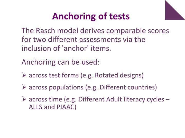 Anchoring of tests