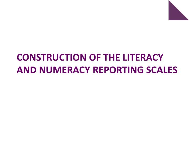 Construction of the literacy and numeracy reporting Scales