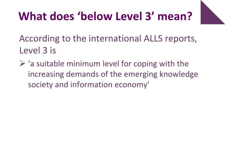 What does 'below Level 3' mean?