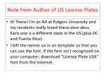 note from author of us license plates